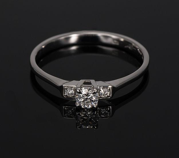 Inel din aur alb de 14k cu diamante de 0.17 ct.
