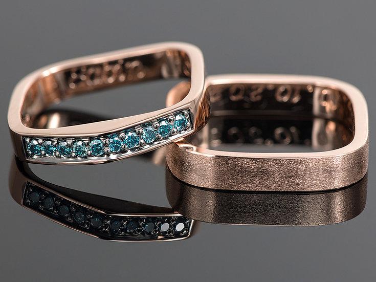 Pereche de verighete din aur roz de 14K cu diamante albastre de 0.15 CT.