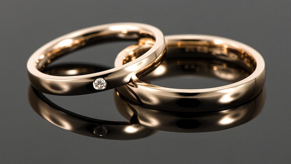 Pereche de verighete din aur roz de 14 K cu diamant de 0.023 CT.