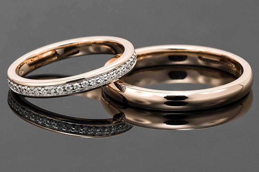 Pereche de verighete din aur roz de 14K cu diamante de 0.24 CT.
