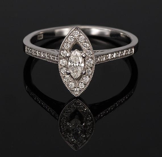 Inel din aur alb de 14k cu diamante de 0.27 ct.