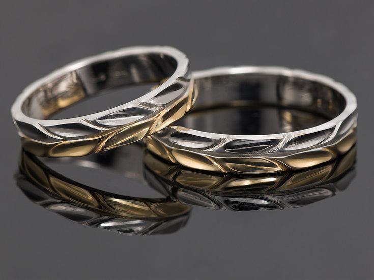 Pereche de verighete din aur galben combinat cu aur alb de 14K.