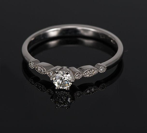 Inel din aur alb de 14k cu diamante de 0.24 ct.
