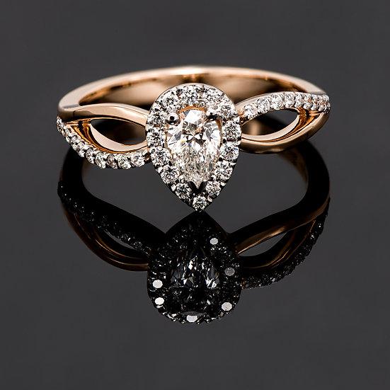 Inel din aur roz de 14k cu diamante de 0.46ct.