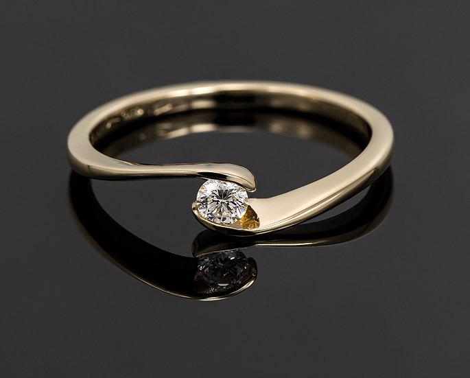 Inel din aur galben de 14k cu diamante de 0.09 ct.