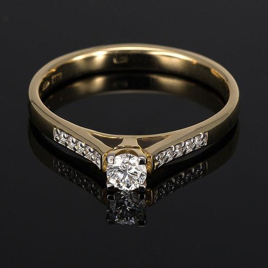 Inel din aur galben de 14k cu diamante de 0.21 ct.