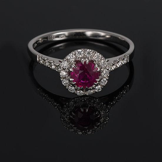Inel din aur alb de 14k cu rubin si diamante de 0.18 ct.