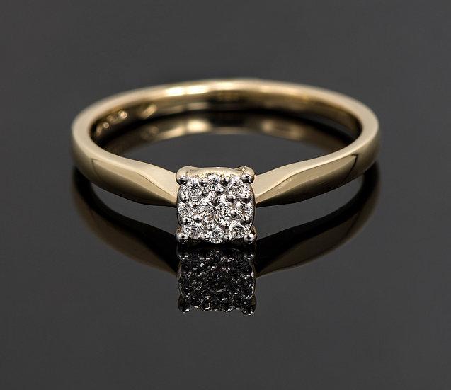 Inel din aur galben de 14k cu diamante de 0.07 ct.