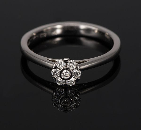 Inel din aur alb de 14k cu diamante de 0.16 ct.