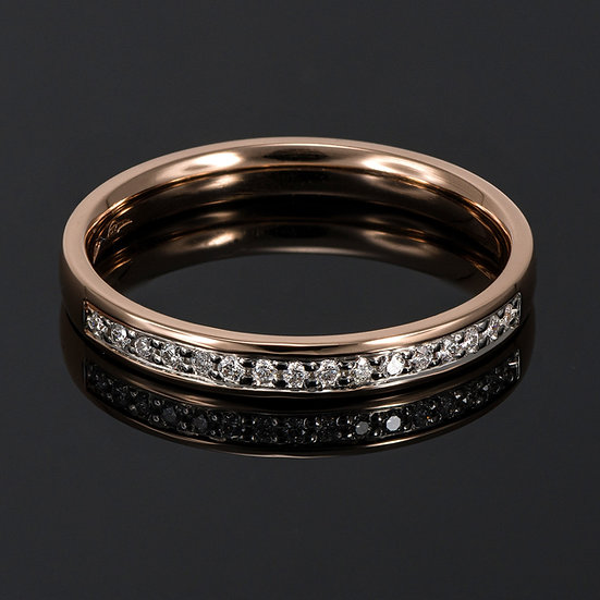 Pereche de verighete din aur roz de 14 K cu diamante de 0.08 CT.