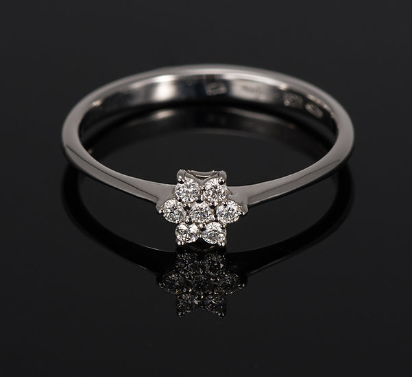 Inel din aur alb de 14k cu diamante de 0.10 ct.