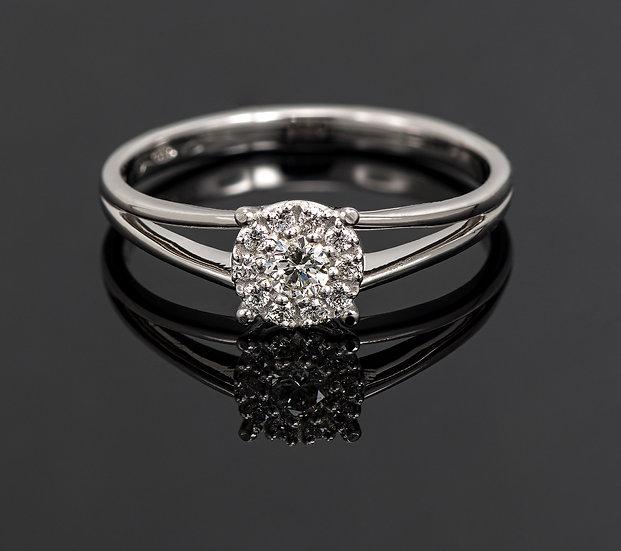 Inel din aur alb de 14k cu diamante de 0.14 ct.