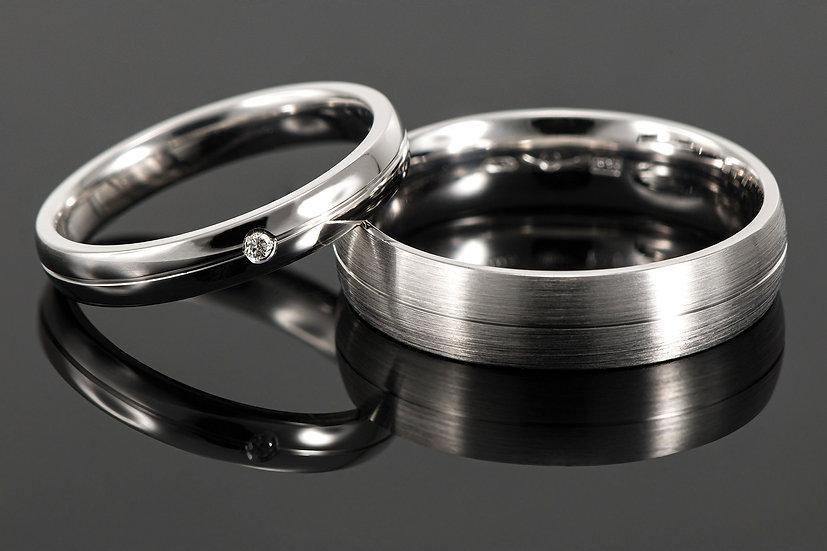 Pereche de verighete din aur alb de 14K cu diamant de 0.015 CT.