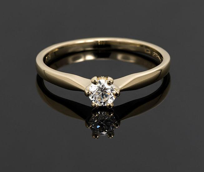 Inel din aur galben de 14k cu diamante de 0.19 ct.