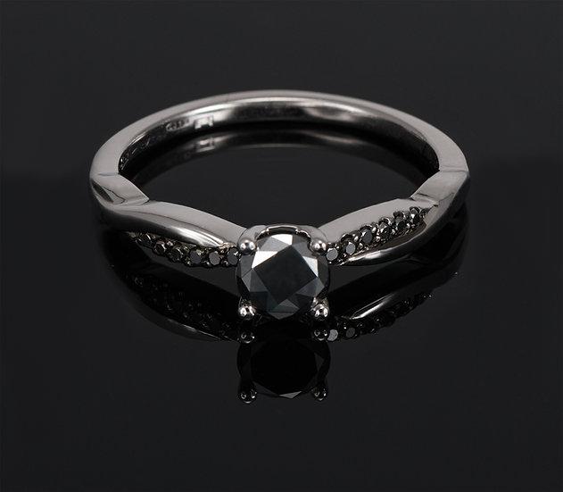 Inel din aur alb de 14k cu diamante de 0.40 ct.