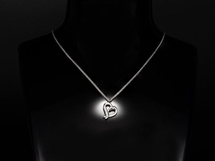 Lant de dama din aur alb de 14k cu pandant cu diamante de 0.03 CT.