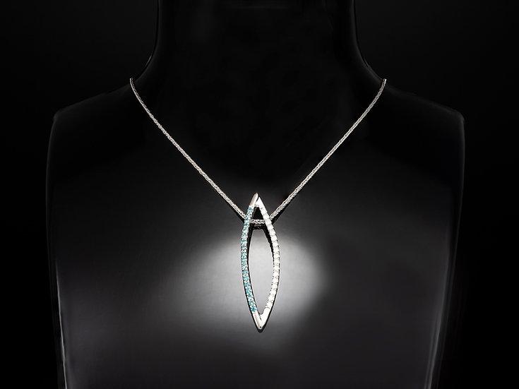 Lant de dama din aur alb de 14k cu pandant cu diamante albe si albastre in total