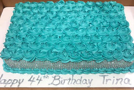 Teal rose and bling birthday cake