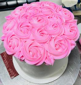 """8"""" pink rose cake"""