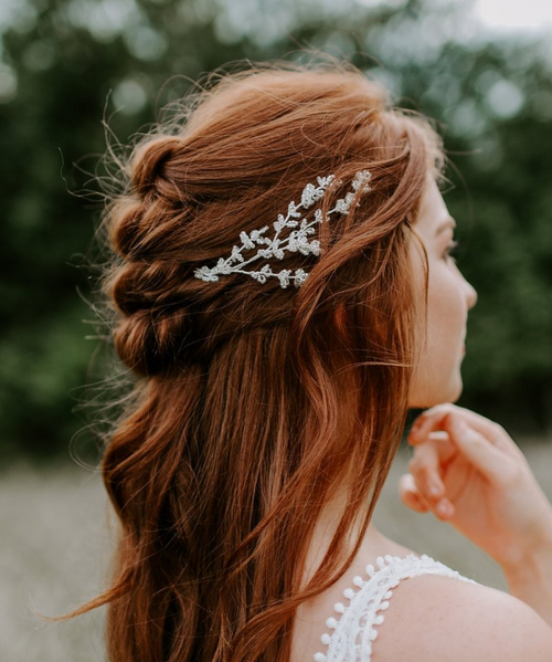 Beaded lavender hairvine from Eden B Studio, perfect bridal hair accessory for the boho bride.