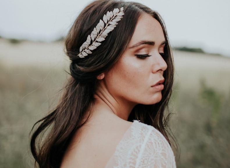 Bride wearing hairvine hair accessory by Eden B Studio.
