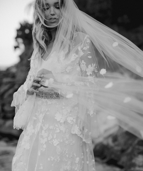 Flower-embroidered bridal veil by Aleksa Karina gets caught in the wind!