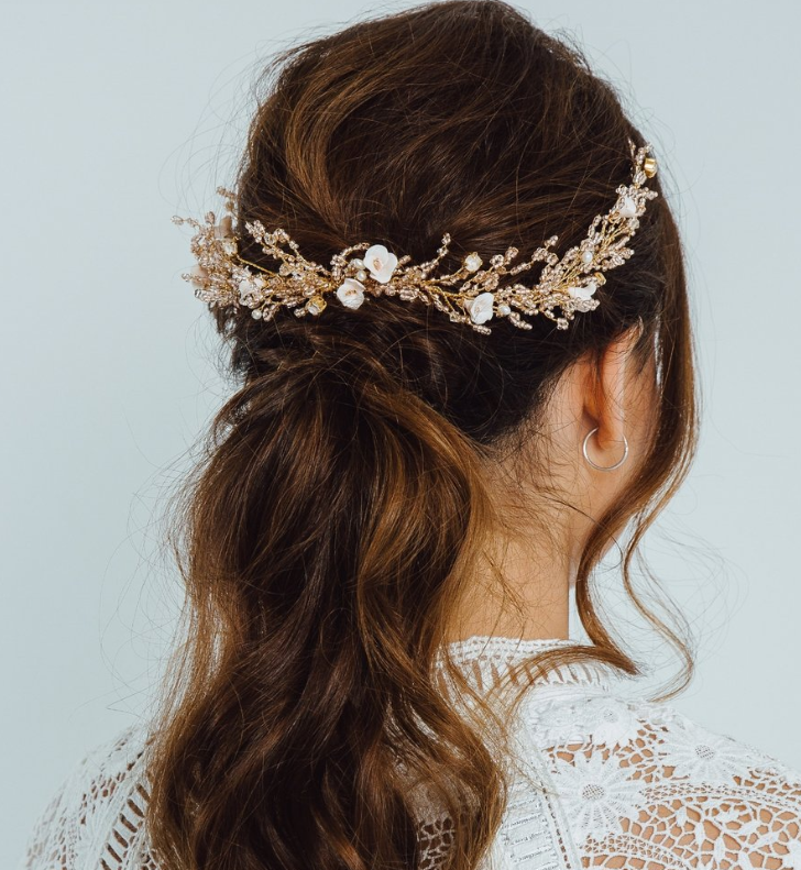 Gorgeously romantic bridal hair accessory from Eden B Studio, featuring handcrafted porcelain flowers, beads, crystals, pearls and more.