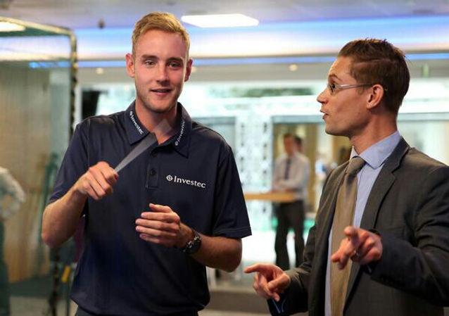 Matthew Kofi Waldren teaching Stuart Broad, cricketer, to conduct