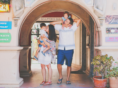 Colorful Spanish Village Family Session
