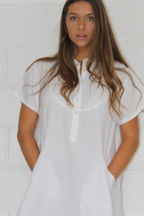 Georgia Dress Linen - White