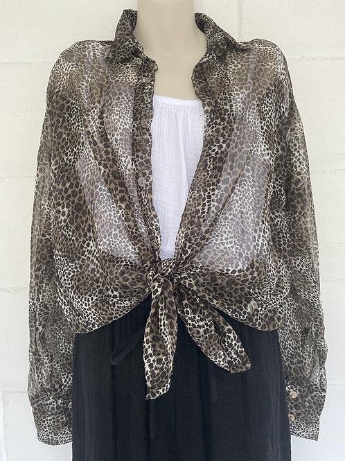 Amelia Shirt - Leopard Chiffon