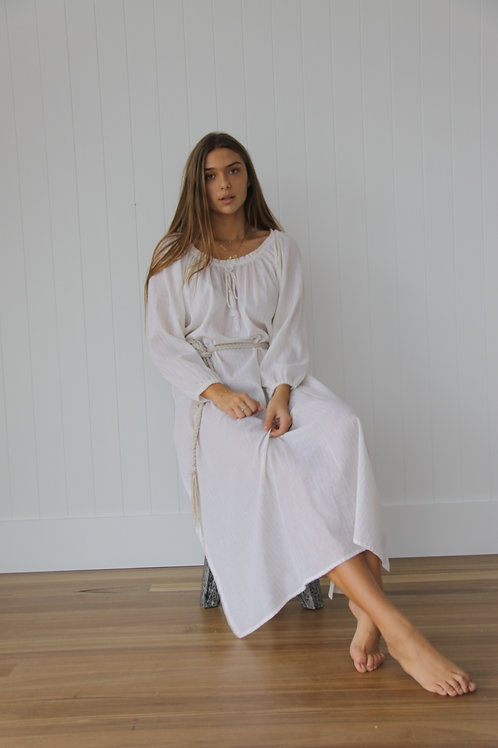 Tayla Dress - Long Gold Stripe