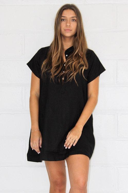 Georgia Dress Linen - Black