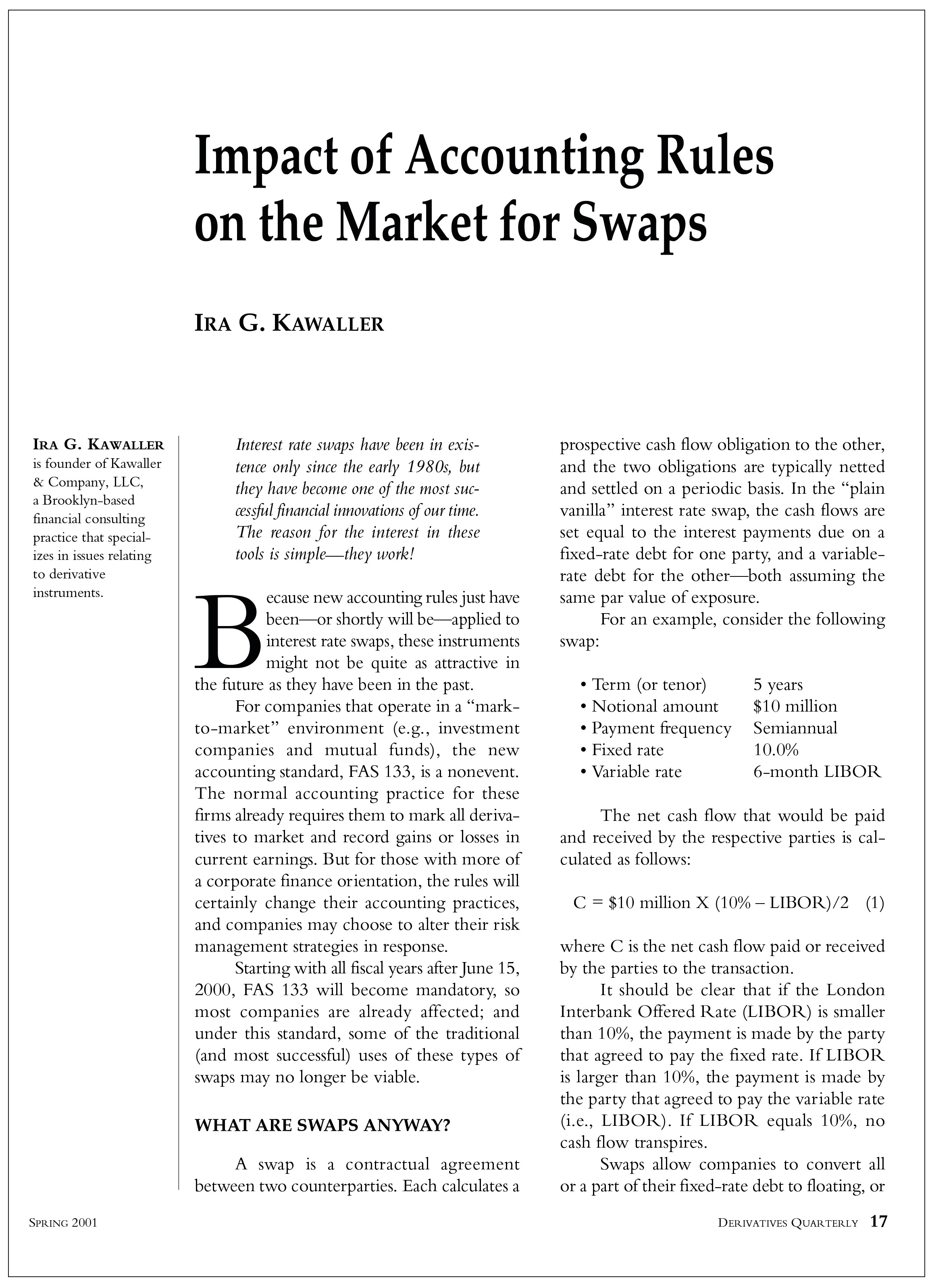 Impact Of Accounting Rules On The Market For Swaps Hedge