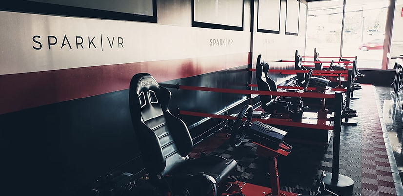 Spark Virtualy Reality Gaming Centre with multiple Edge 6D Racing Simulators set up