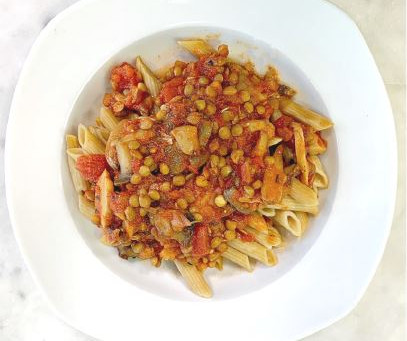 Vegetable Bolognese with Whole Wheat Pasta