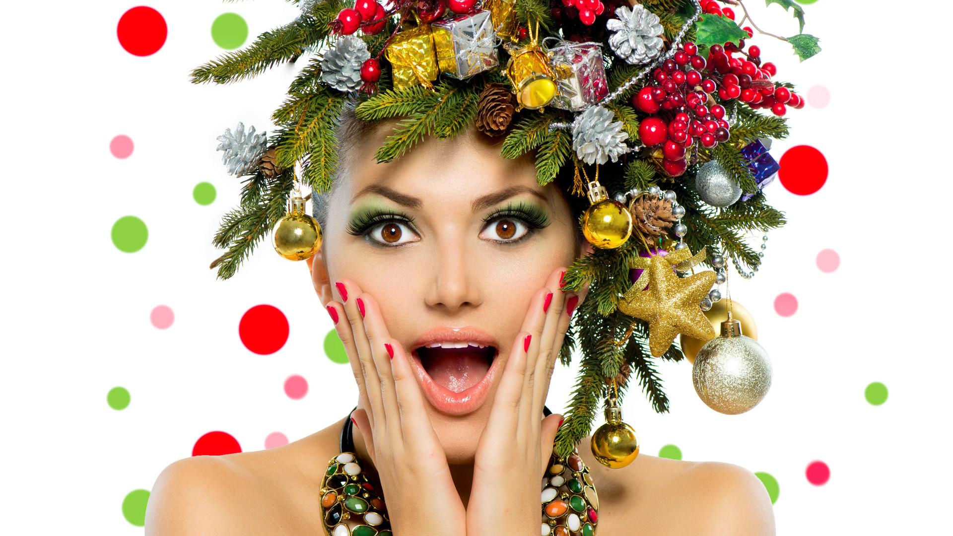 Christmas Woman. Beautiful New Year and
