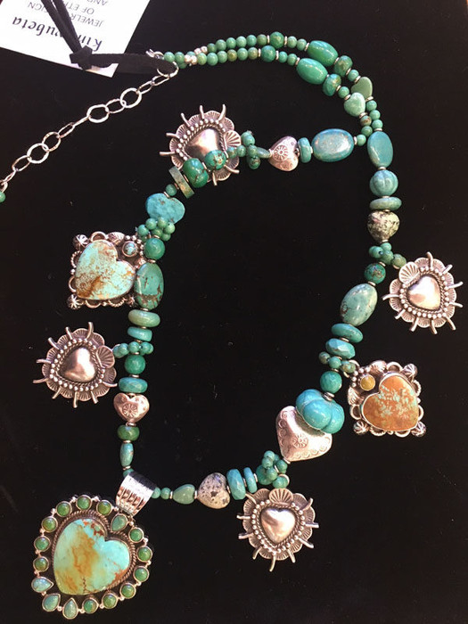 Turquoise Hearts Single Strand - Necklace