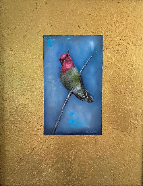 Hummingbird on Gold by Barbara Rudolph