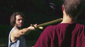 Sword fight sparring still from Deane