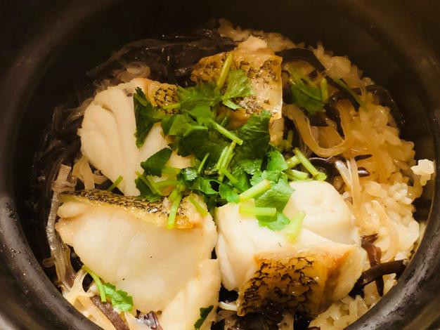Niyodogawa wood ear and longtooth grouper over rice