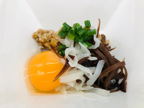 black and white wood ear and natto