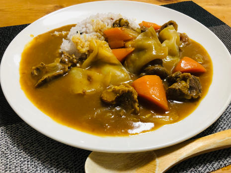 curry and rice with white wood ear
