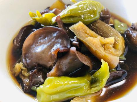 braised wood ear, eggplant, and green pepper