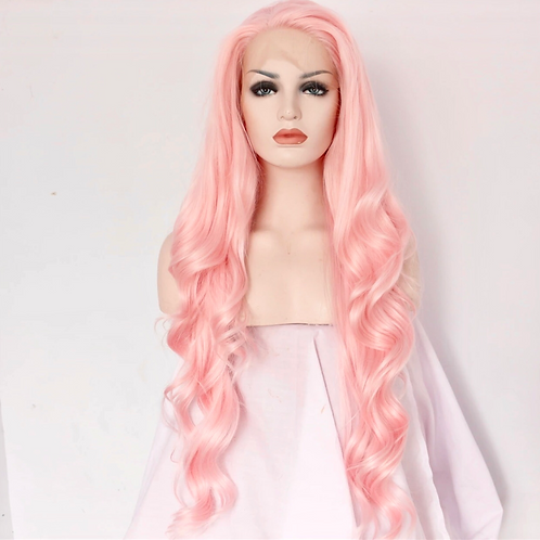 Light pink body wave full lace wig