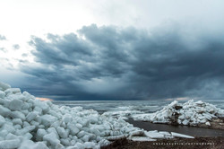 Ice shoves on the shore of The Bay