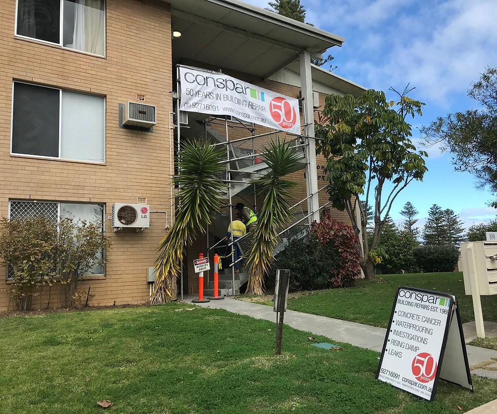 Conspar concrete cancer treatment at an apartment building in Cottesloe