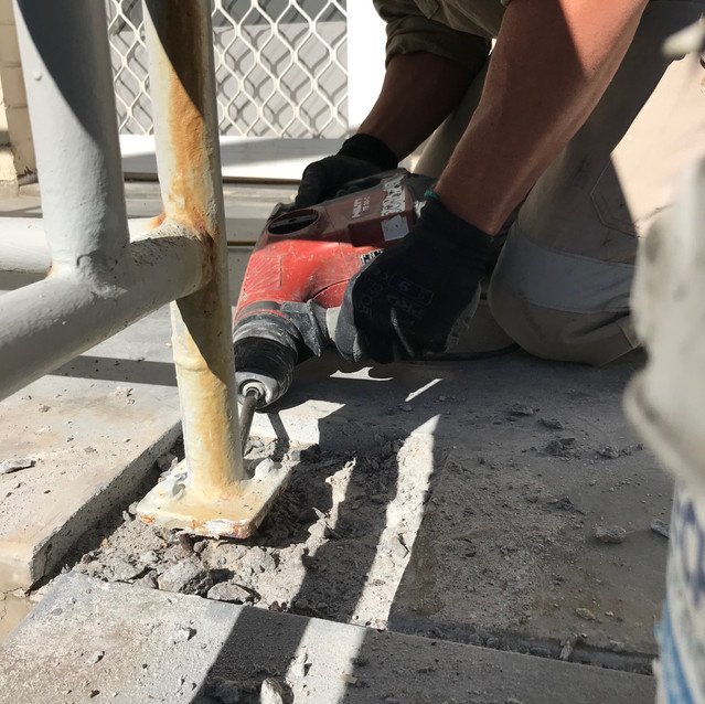 Conspar was engaged to treat concrete cancer at the common access areas of this residential strata complex in Cottesloe (Perth). Part of the process was treating the rusted balustrade fixings - an avenue for concrete cancer to develop.