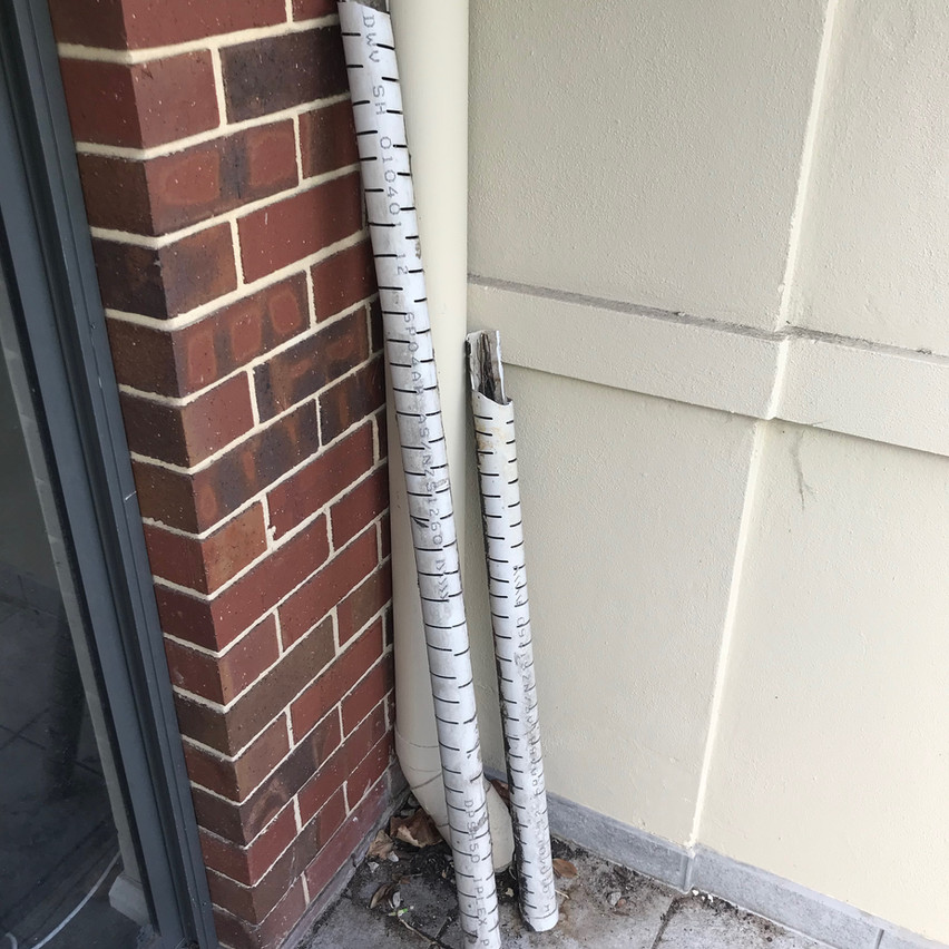 After removing the contents of the planter boxes at this apartment complex (Highgate, Perth) in order to install the waterproofing the old drainage system was removed.