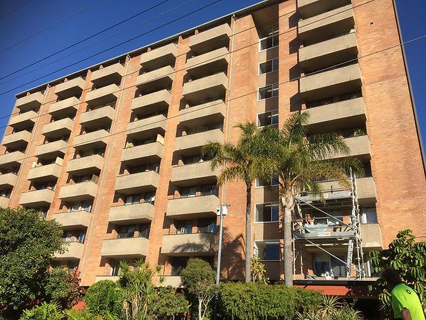 Conspar concrete treatment of balconies at this high-rise apartment building in Mosman Park, Perth.